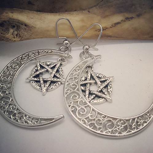 Filigree Crescent Moon with Pentacle Drop Earrings