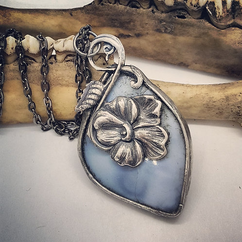 """Soldered Blue Opal with Flower Accent on 18"""" Chain"""
