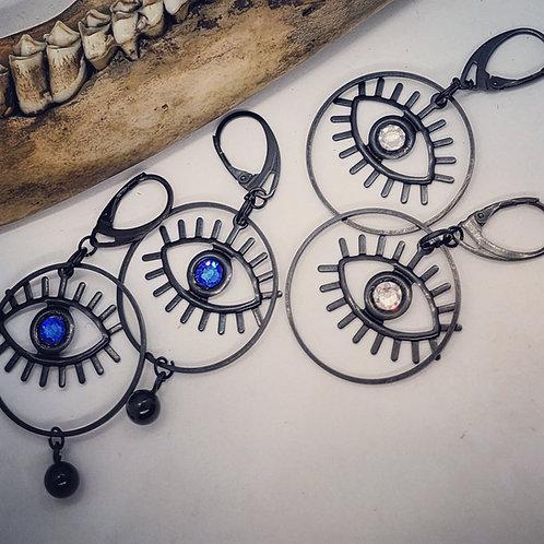 Black Evil Eye Earrings with Swarovski Crystals