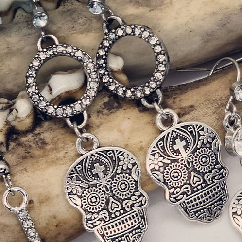 Sugar Skull & Rhinestone Earrings