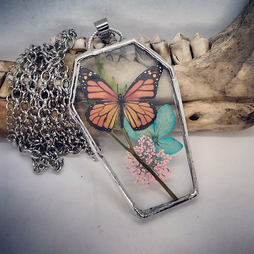 Soldered Glass Coffin with Monarch Butterfly Replica & Dried Floral