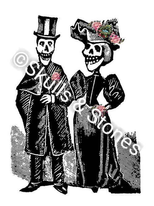 Posada Couple with Pink Roses Print - Matted