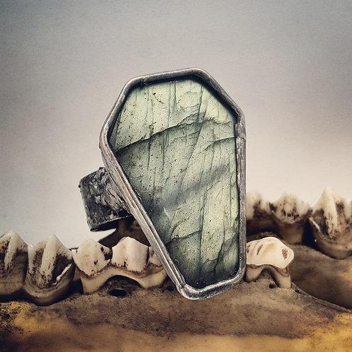 Sz 12 Soldered Wide Band Labradorite Coffin Ring