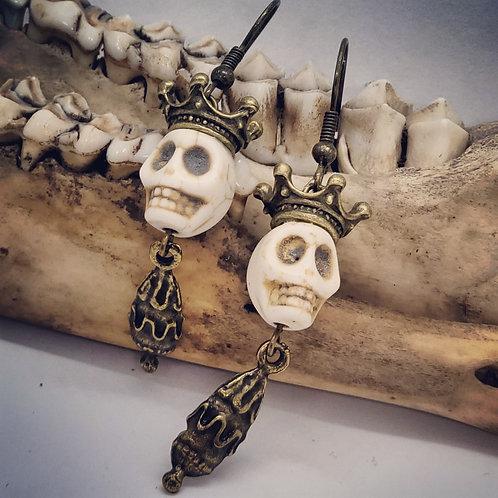 Skull with Goldtone Crown Earrings