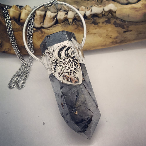 "Soldered Terminated Quartz Point with Anatomical Heart on 20"" Chain"