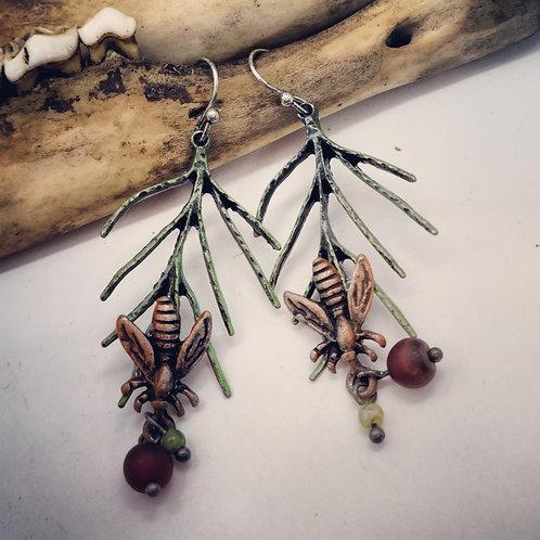 Dainty Boho Earrings with Bumblebees