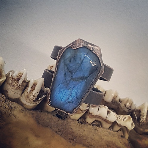 Electroformed Wide Band Labradorite Coffin Ring