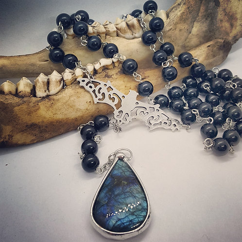 Rosary Style Necklace with Bat & Labradorite