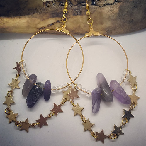 Golden Stars and Amethyst Hoop Earrings
