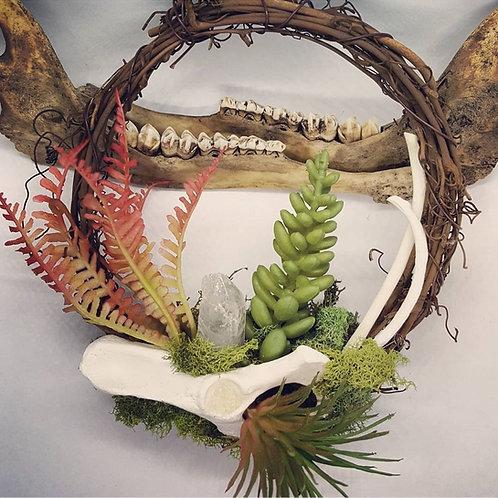 """6"""" Grapevine Wreath with Bone, Quartz & No Kill Succulents"""