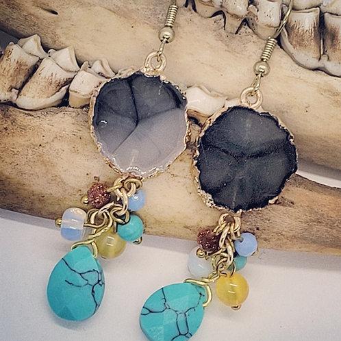 Resin Gemstone with Beads Earrings