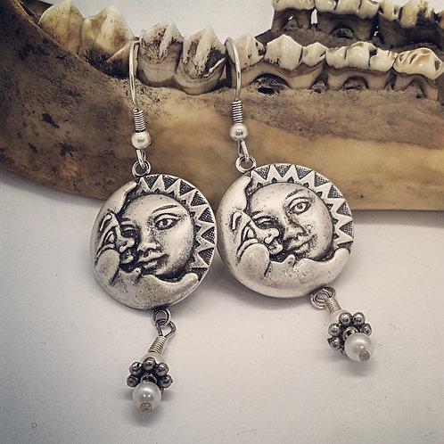 Sun/Moon Earrings with Drops
