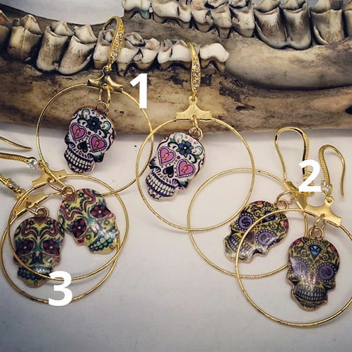 Goldtone Sugar Skull Hoops with CZ's