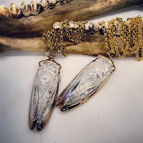 "Glass Cicada on 22"" Chain"