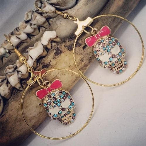 Sugar Skull Rhinestone Hoop Earrings