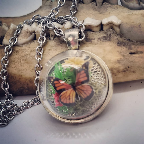 """Tiny Butterfly Replica in Glass Dome on 20"""" Chain"""