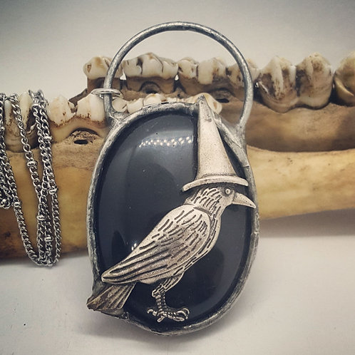 """Soldered Onyx with Raven in Witch Hat on 20"""" Chain"""