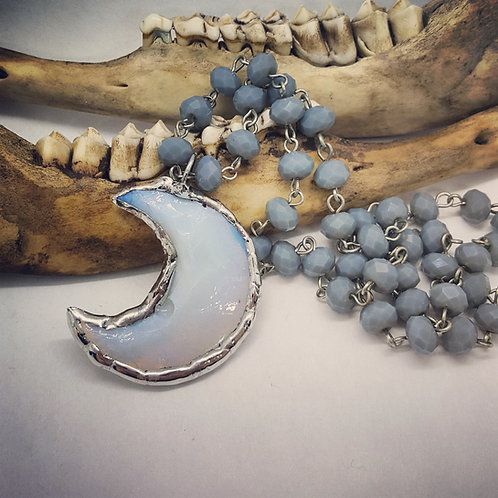 """Soldered Opalite Moon on 18"""" Beaded Chain"""