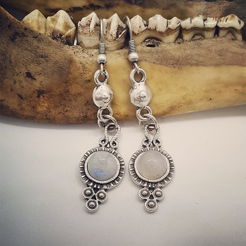 Small Silver Plated Moonstone Earrings