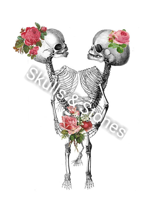 Vintage Skeleton Twins and Roses Print - Matted