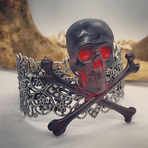 Adjustable Cuff Bracelet with Large Skull & Crossbones