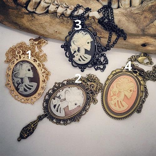 Skelton Lady Cameo Necklaces