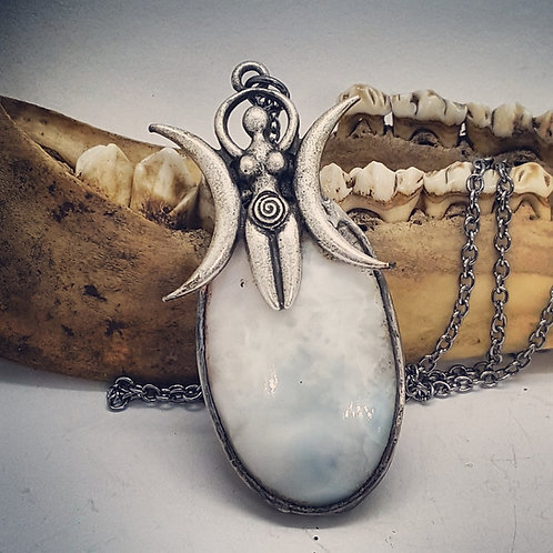 "Soldered Larimar with Goddess on 20"" Chain"