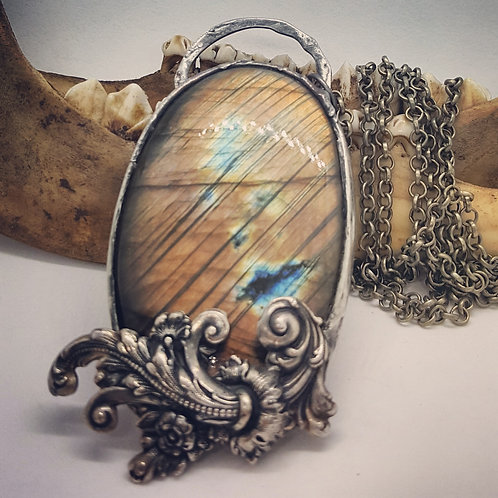 Large Soldered Labradorite with Flourish on Long Chain