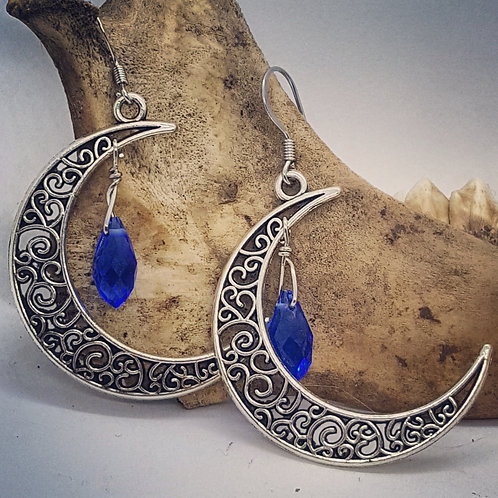 Filigree Crescent Moon with Blue Rhinestone Drop Earrings