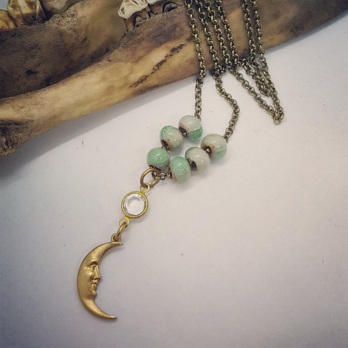 "Minimalist Brass Crescent Moon with Rhinestone on Beaded 18"" Chain"