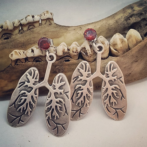 Anatomical Lungs with Red CZ Post Earrings
