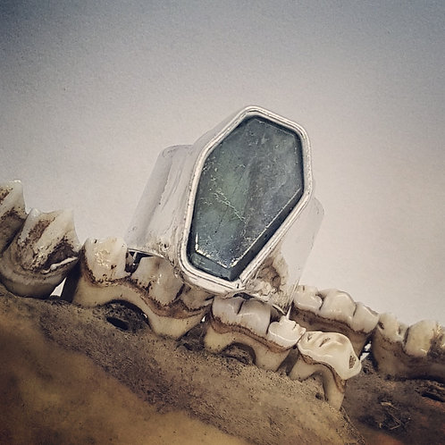 Adjustable Soldered Wide Band Labradorite Coffin Ring