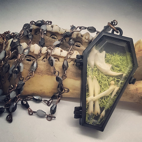 Small Coffin with Mice Bones & Moss on Long Beaded Chain