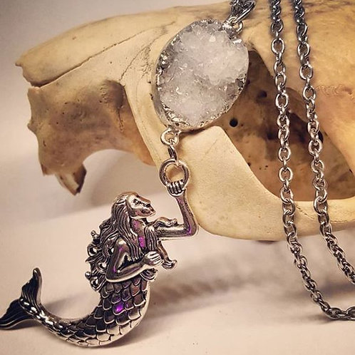 """Geode with Large Mermaid on 20"""" Chain"""