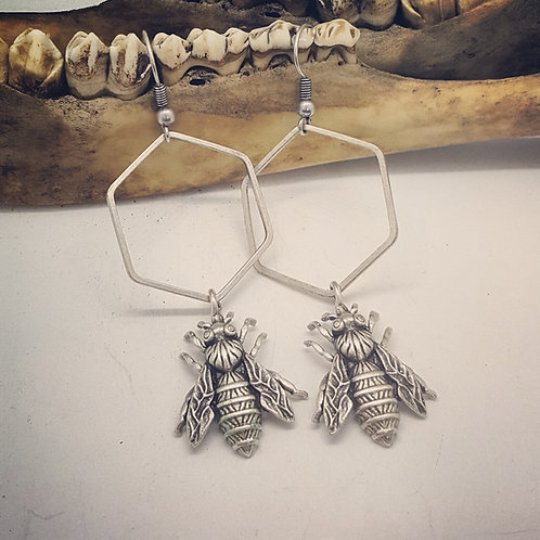 Silver Plated Bumblebee Earrings