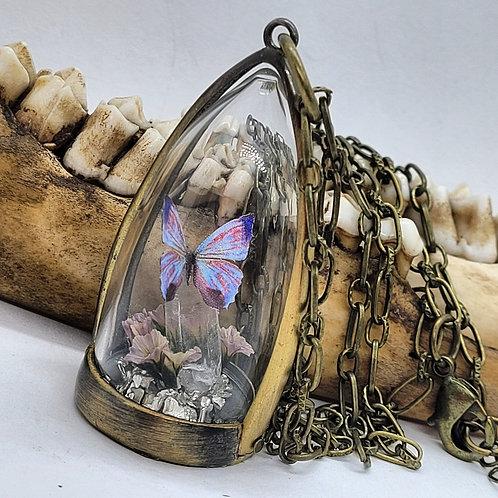 Glass Mini Terrarium with Micro Mini Butterfly Replica on Long Chain