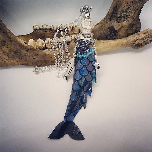 "Skeleton Mermaid on 28"" Chain"