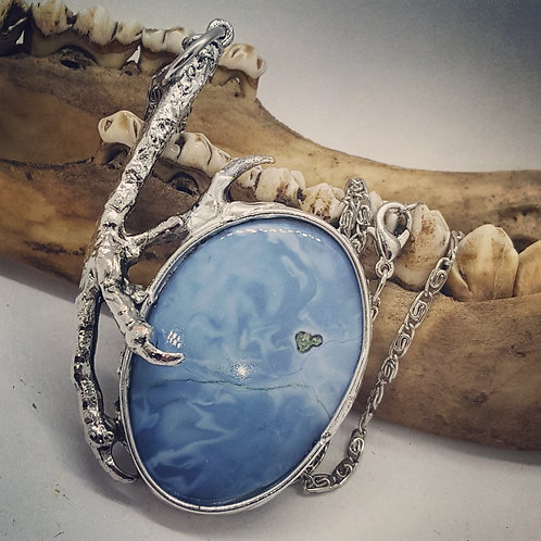 """Soldered Raven Claw with Blue Opal on 20"""" Chain"""