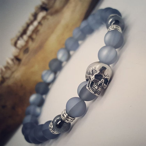 Stainless Skull Stretch Bracelet with Glass Mermaid Beads