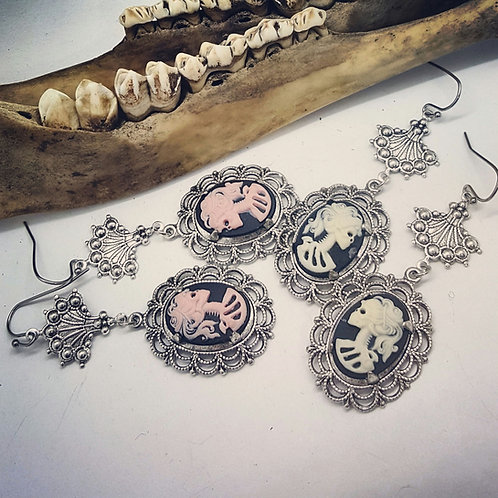 Skeleton Lady Cameo Earrings