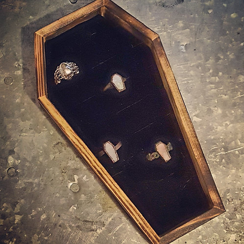 Wooden Coffin Ring Tray