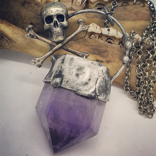 "Large Amethyst Point with Skull & Crossbones on 22"" Chain"