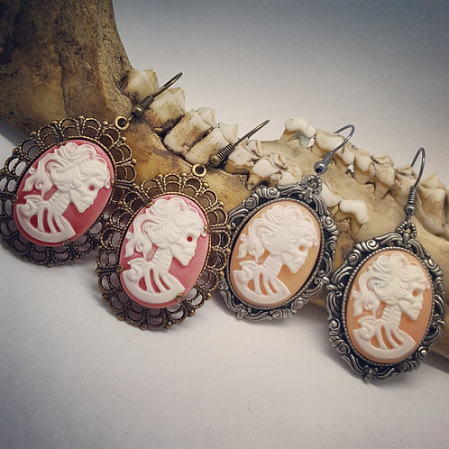 Skeleton Lady Cameo Earrings