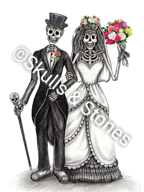 Skeleton Couple with Roses Print - Matted