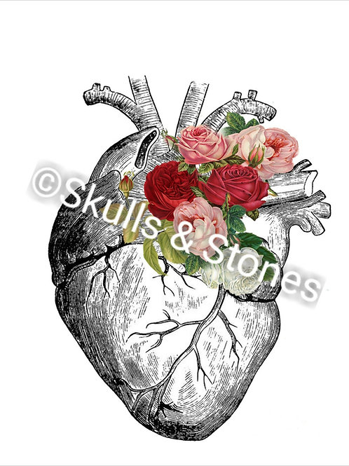 Vintage Heart and Roses Print - Matted