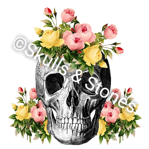 Vintage Skull and Roses Print - Matted