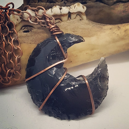 """Wire Wrapped Obsidian Moon on 24"""" Chain"""