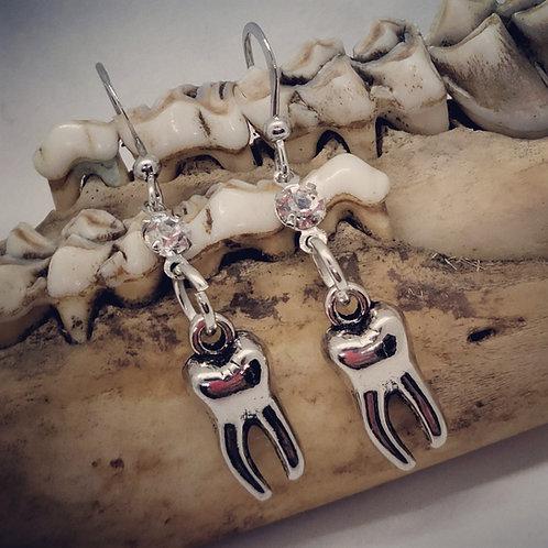 Tiny Tooth & Rhinestone Earrings