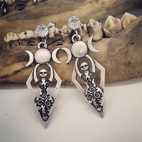 Goddess Earrings with CZ's & Stainless Posts
