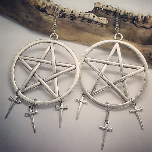 Pentacles with Daggers Earrings
